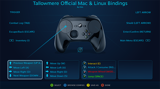 Tallowmere Official Mac & Linux Bindings for Steam Controller