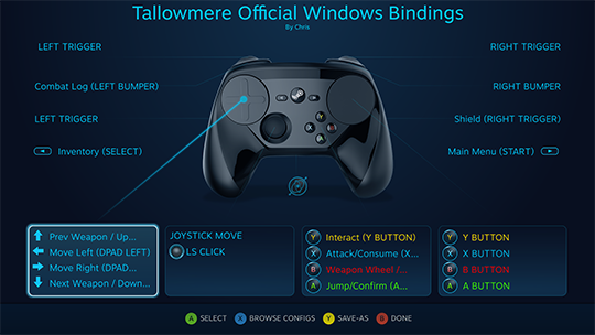 Tallowmere Official Windows Bindings for Steam Controller